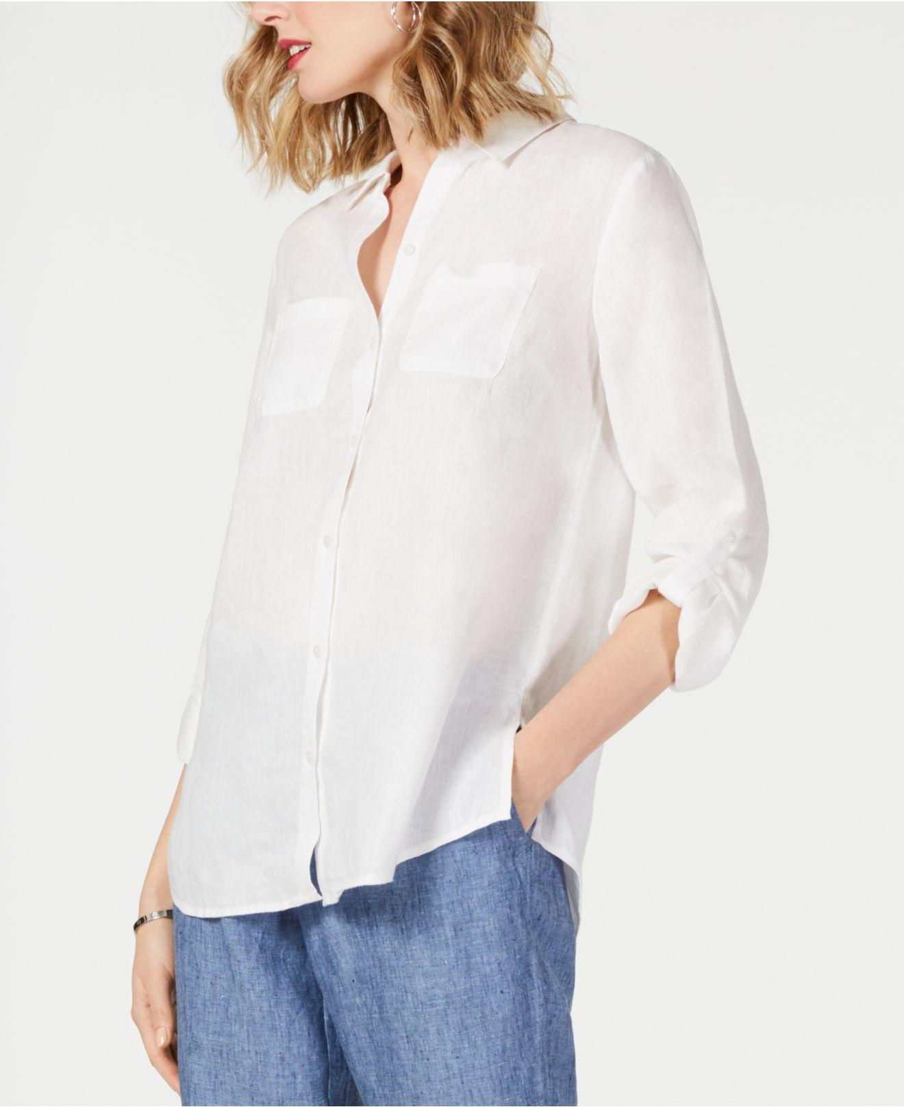 ea17cc92 Lyst - Charter Club Linen Utility Shirt, Created For Macy's in Blue
