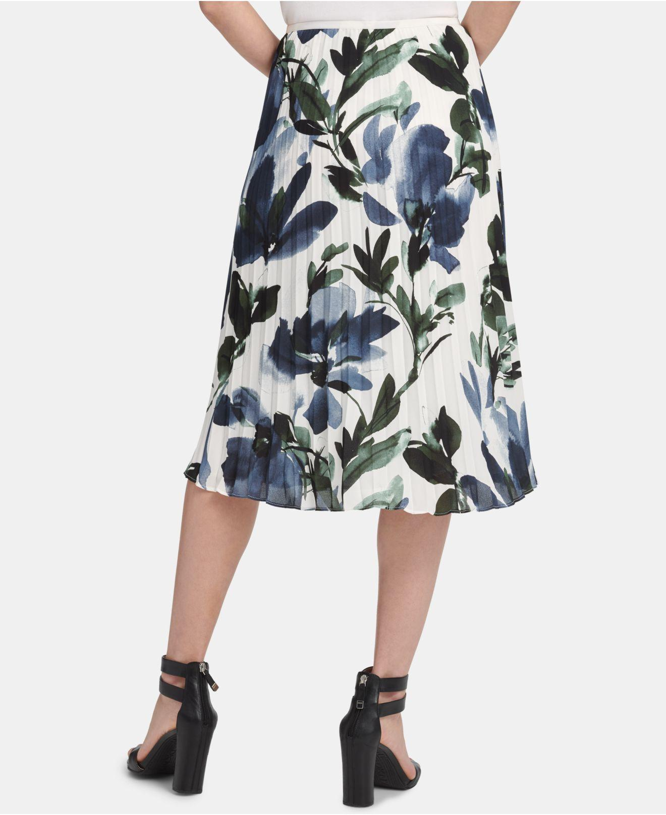 2e49a00eb Lyst - DKNY Pleated Floral-print Skirt in Blue
