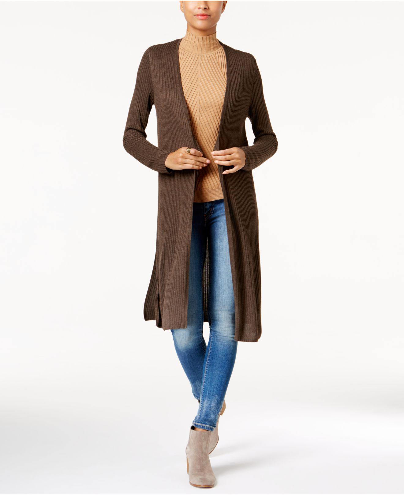 Inc international concepts Rib-knit Duster Cardigan in Brown | Lyst