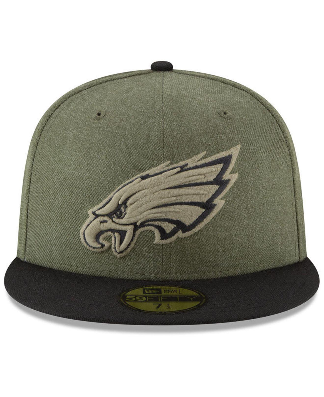 big sale 4c4b8 bf77e Lyst - KTZ Philadelphia Eagles Salute To Service 59fifty Fitted Cap in  Green for Men