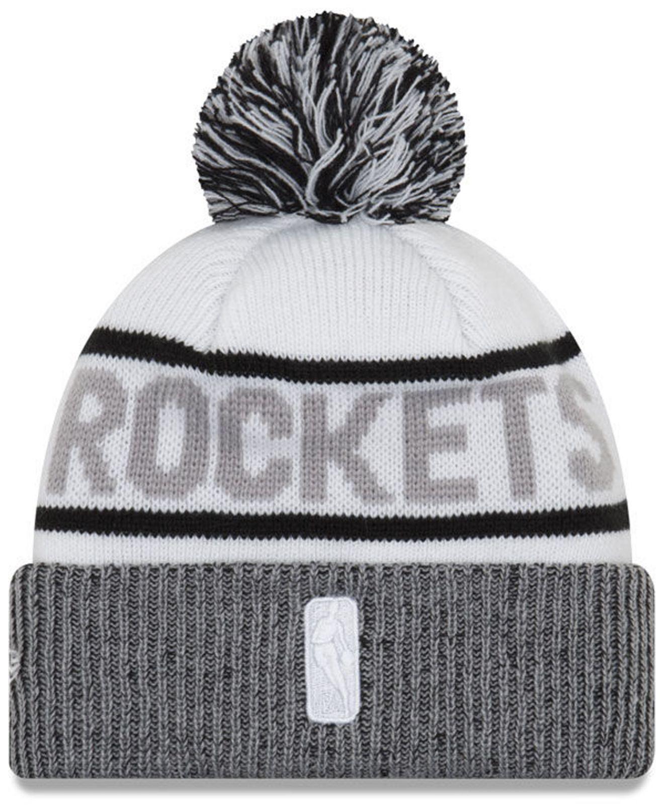 quality design d1bd1 c4a6c ... australia lyst ktz houston rockets court force pom knit hat in white  for men 2838f 2d5c2