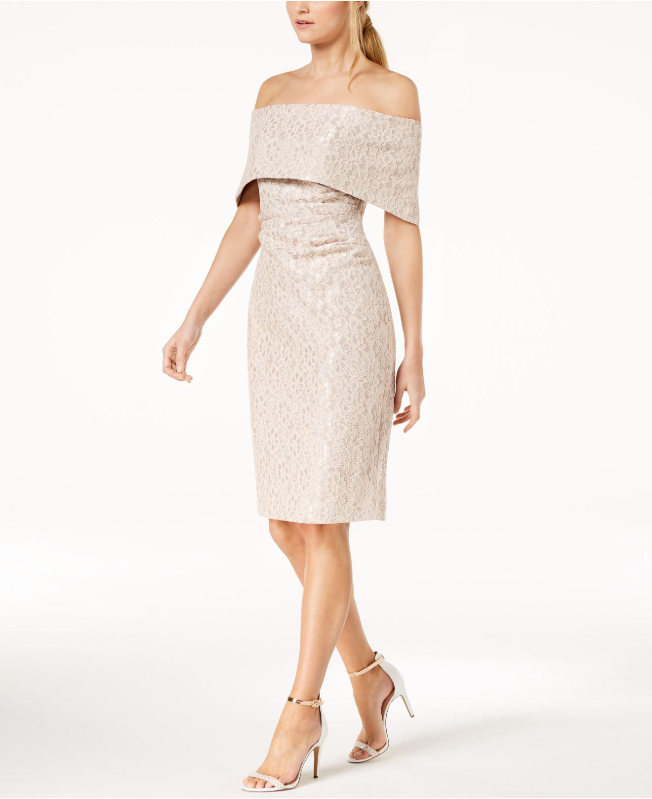 2f46106915d5 Vince Camuto Lace Off-the-shoulder Sheath Dress - Lyst