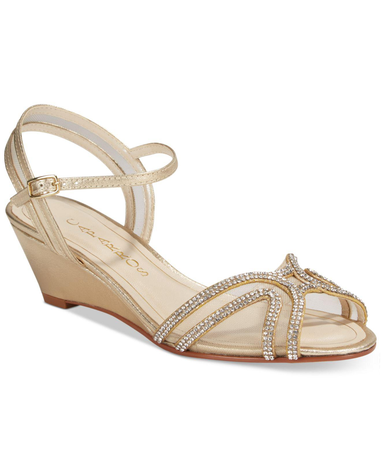 d30490392a9d Lyst - Caparros Hilton Strappy Evening Wedge Sandals in Metallic