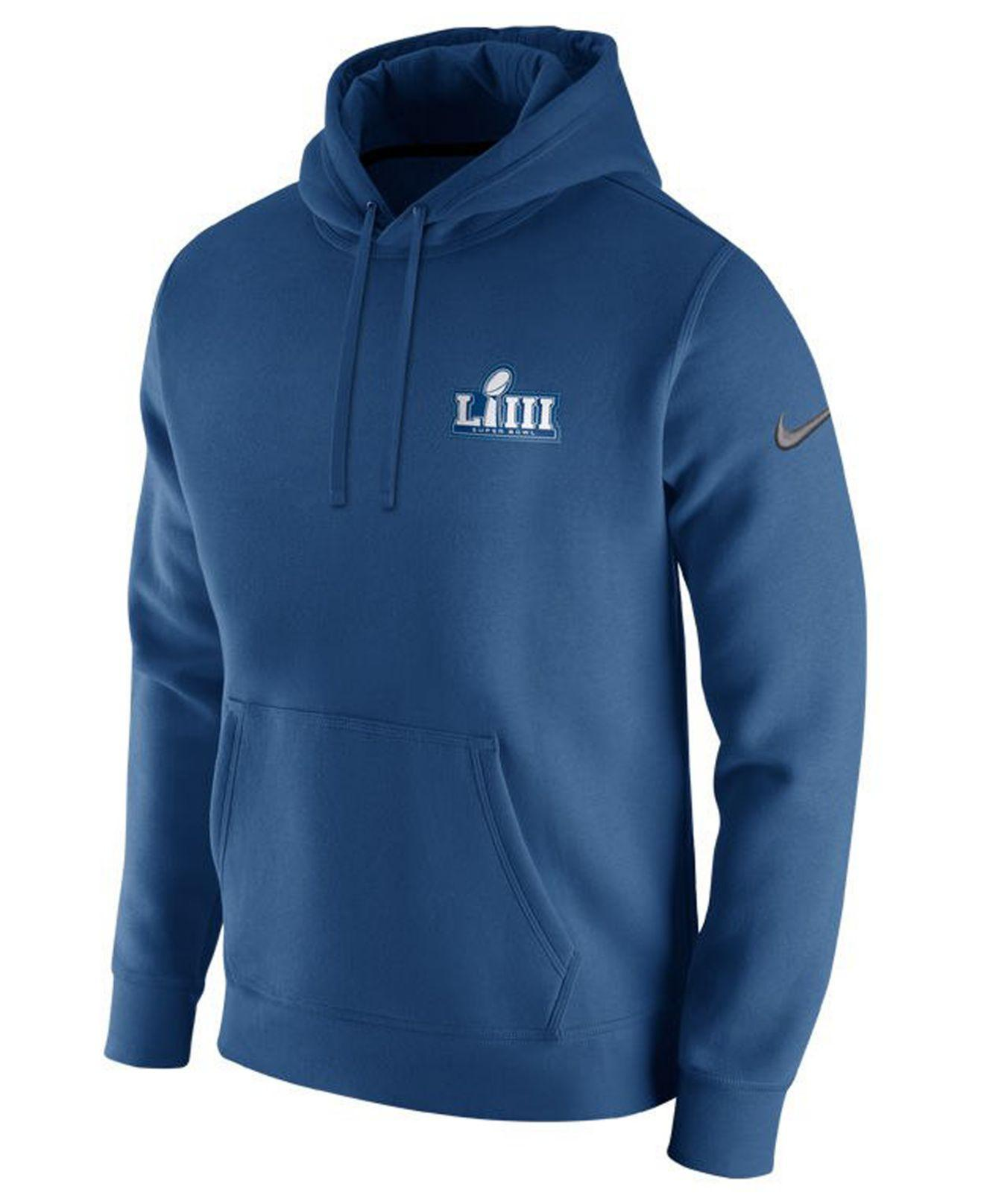 098fb7bb Nike Super Bowl Liii Club Fleece Pullover Hoodie in Blue for Men - Lyst