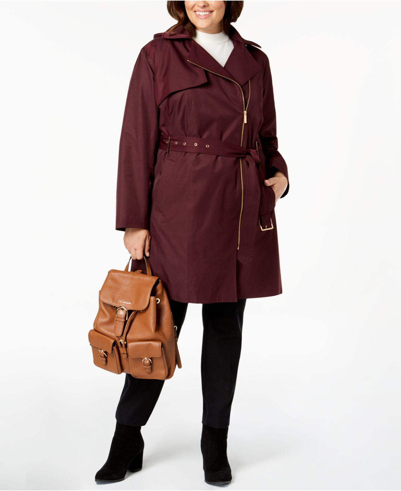 6063362201a Michael Kors. Women s Red Michael Plus Size Asymmetrical Hooded Trench Coat