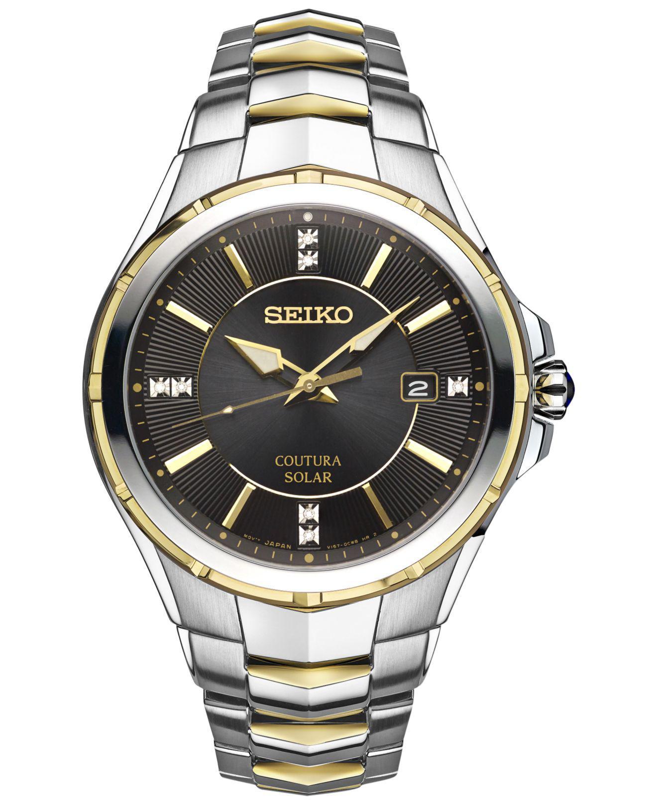 1603bccf5c4 Lyst - Seiko Men s Solar Coutura Diamond Accent Two-tone Stainless ...