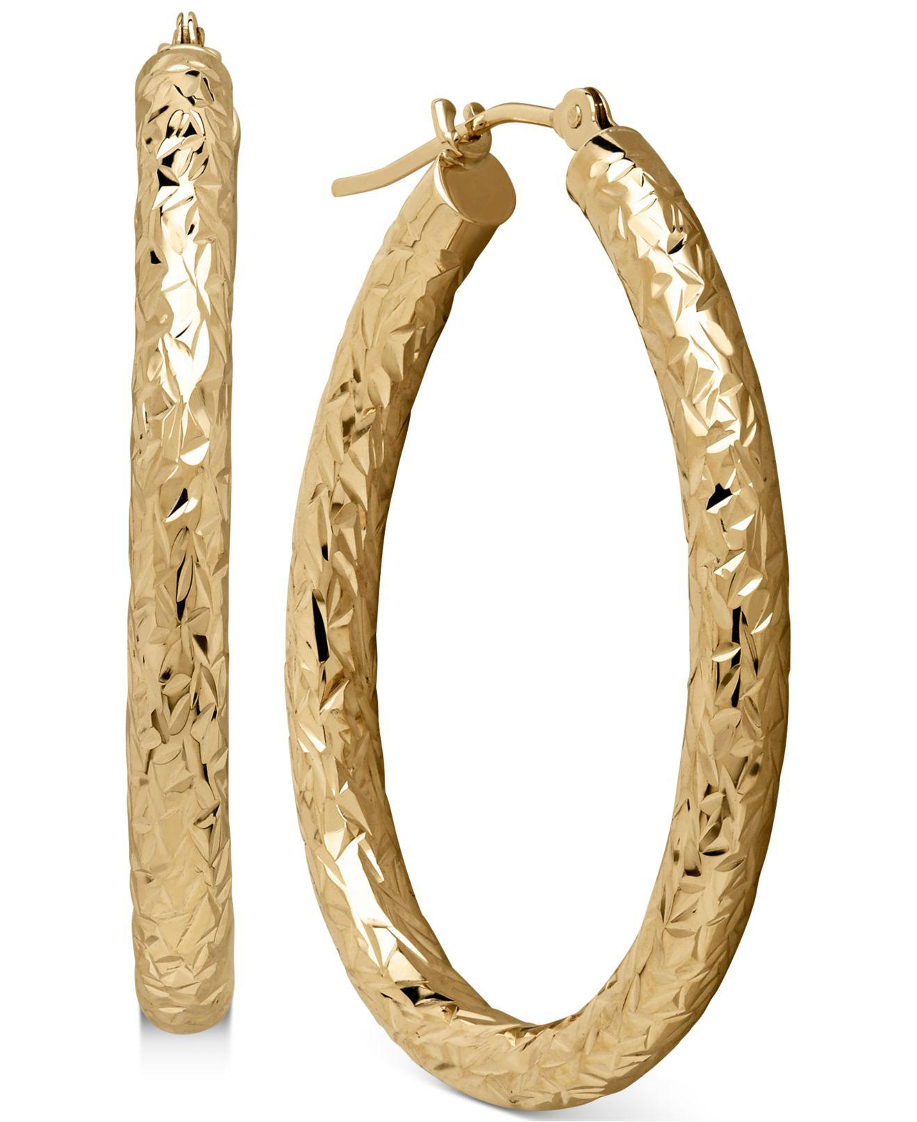 Lyst - Macy'S Diamond-cut Hoop Earrings In 14k Gold in ...