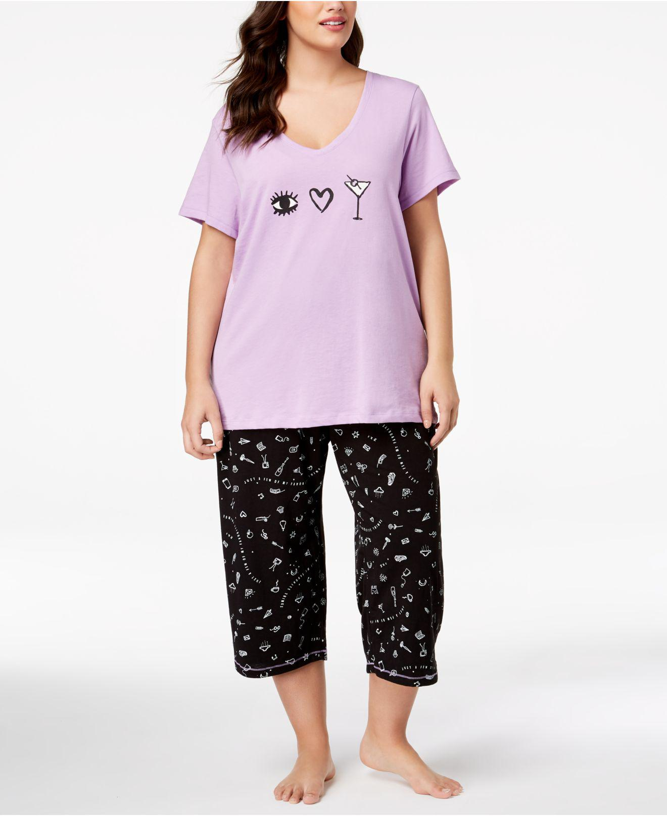 60a8f7d96d5 Lyst - Hue ® Plus Size Printed Capri Pajama Set