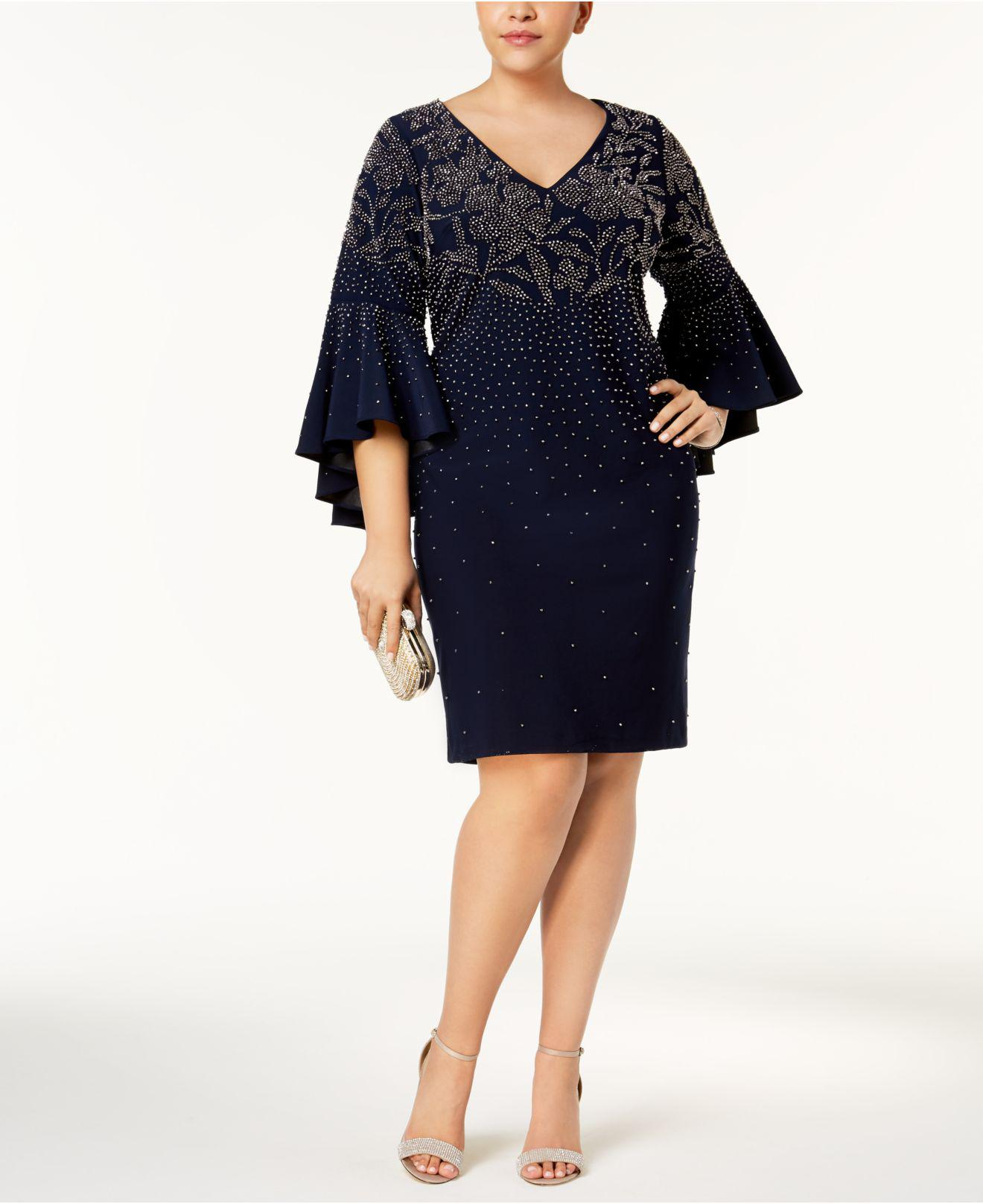 3121ea90497 Lyst - Betsy   Adam Plus Size Embellished Bell-sleeve Dress in Blue