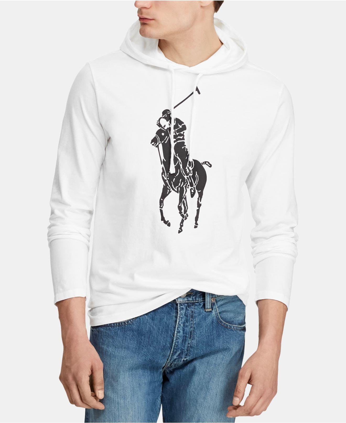 f41783d6 Polo Ralph Lauren Big Pony Jersey Hooded T-shirt in White for Men - Lyst