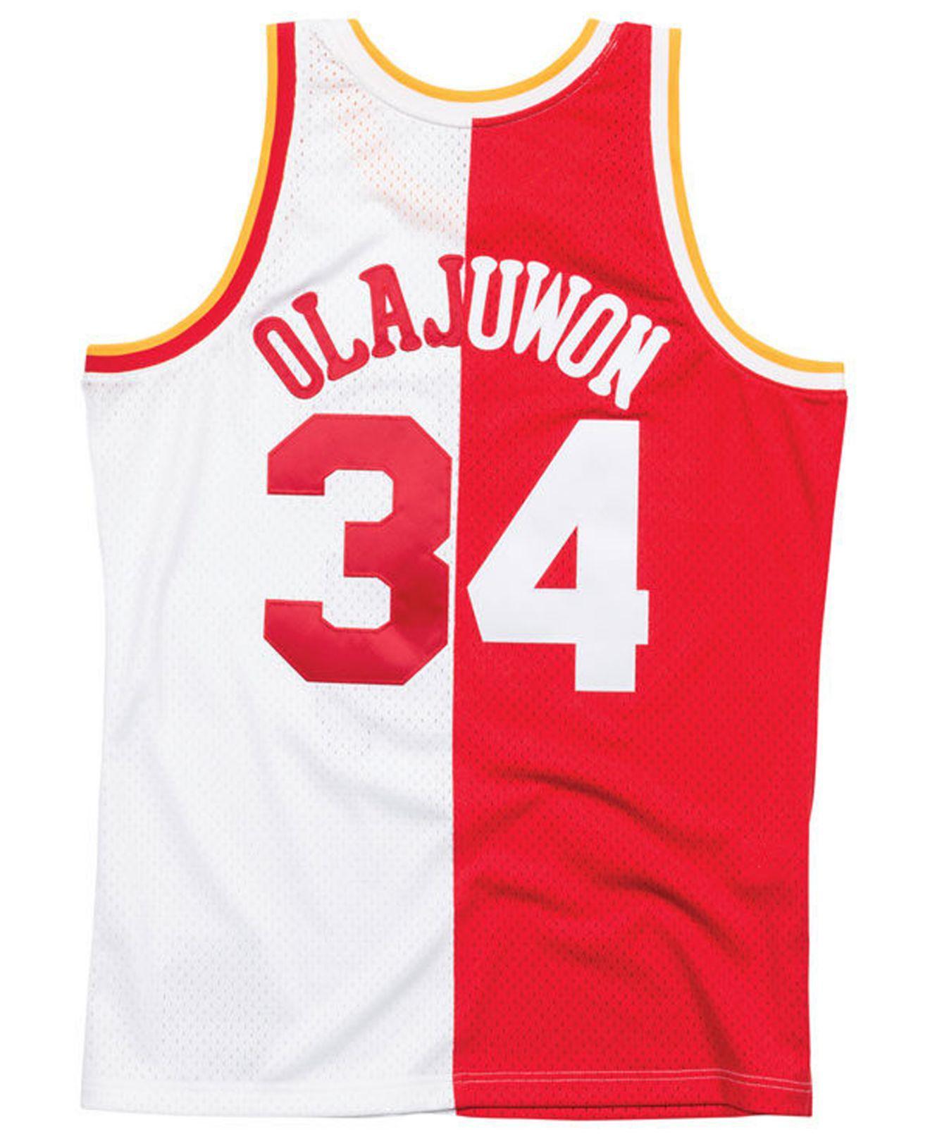 eb4b24215 Lyst - Mitchell   Ness Hakeem Olajuwon Houston Rockets Split Swingman Jersey  in Red for Men