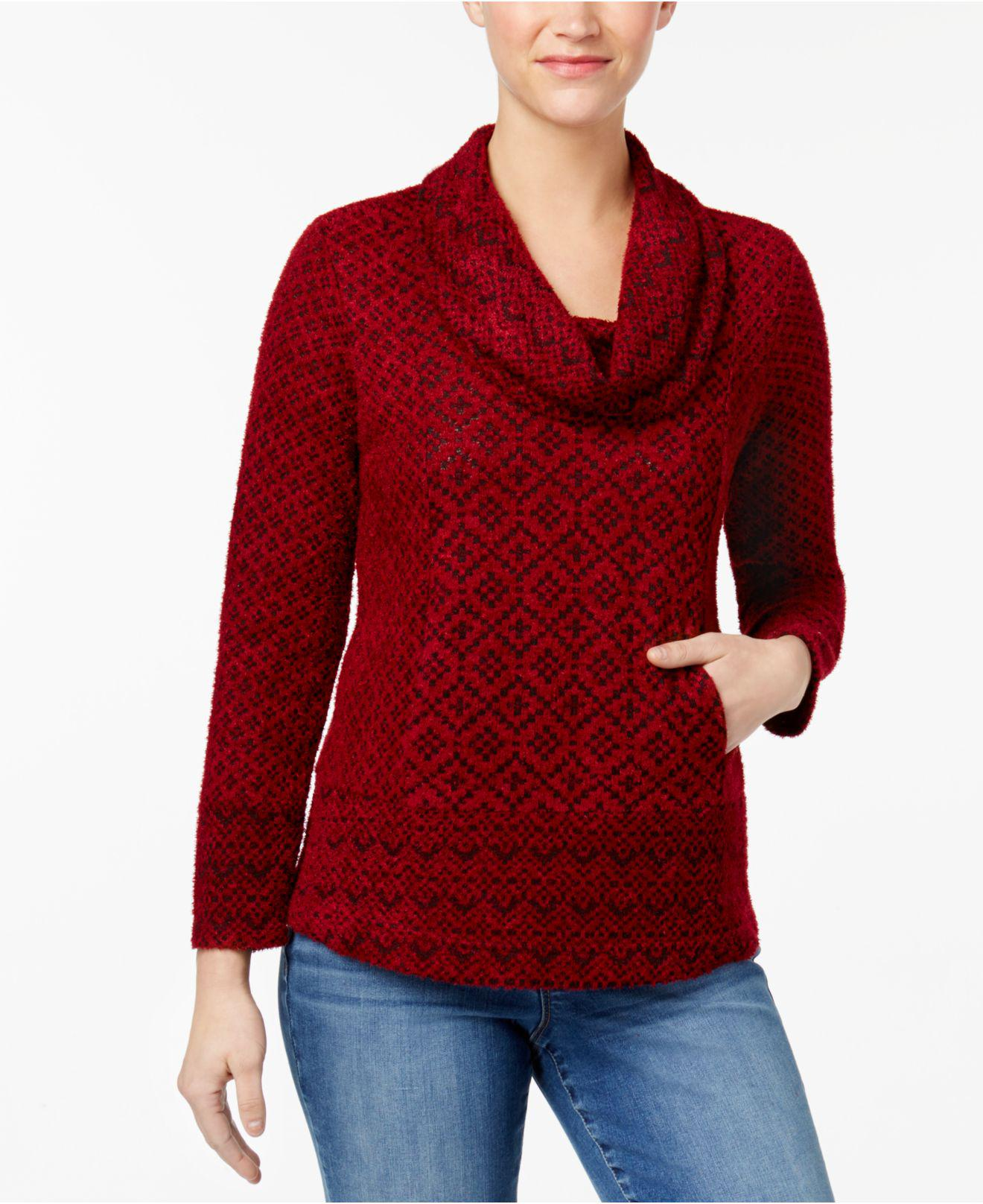 Style & co. Petite Printed Cowl-neck Sweater in Red | Lyst
