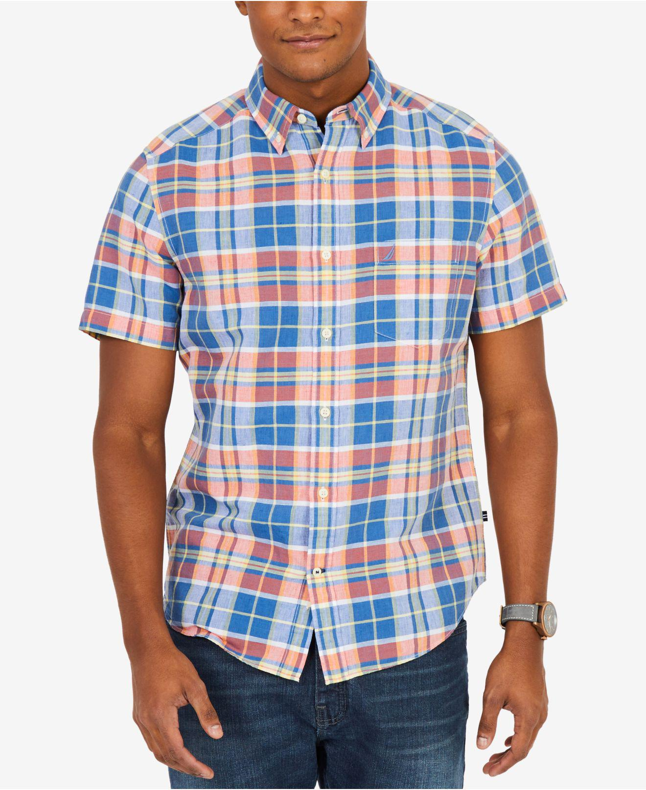 Lyst Nautica Plaid Short Sleeve Shirt In Blue For Men