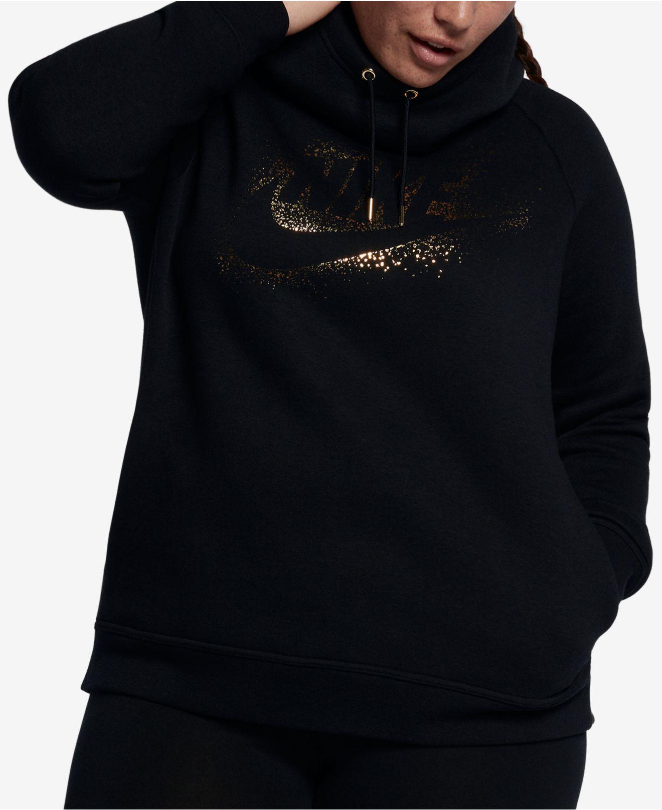 f4f640ddf30e4 Lyst - Nike Plus Size Sportswear Rally Metallic-logo Hoodie in Black