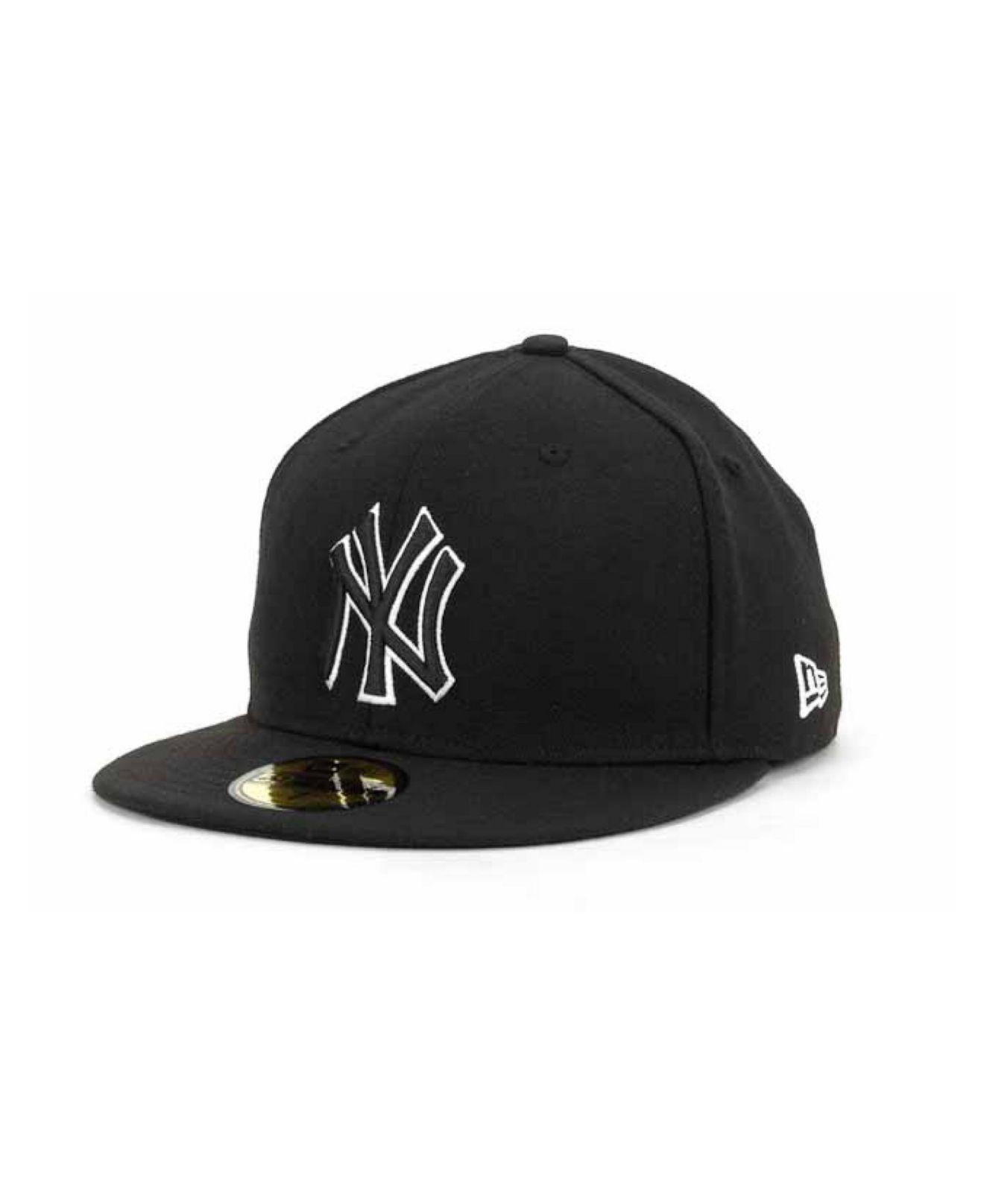 92b573cc ... wholesale ktz new york yankees black and white fashion 59fifty cap for men  lyst. view