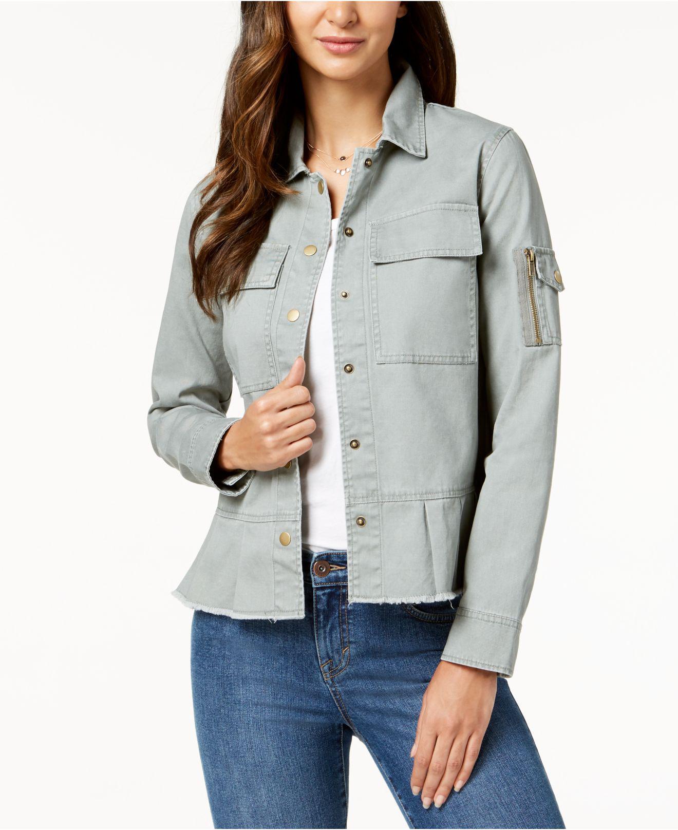 f2904f2b2c374 Style   Co. Cotton Peplum Utility Jacket
