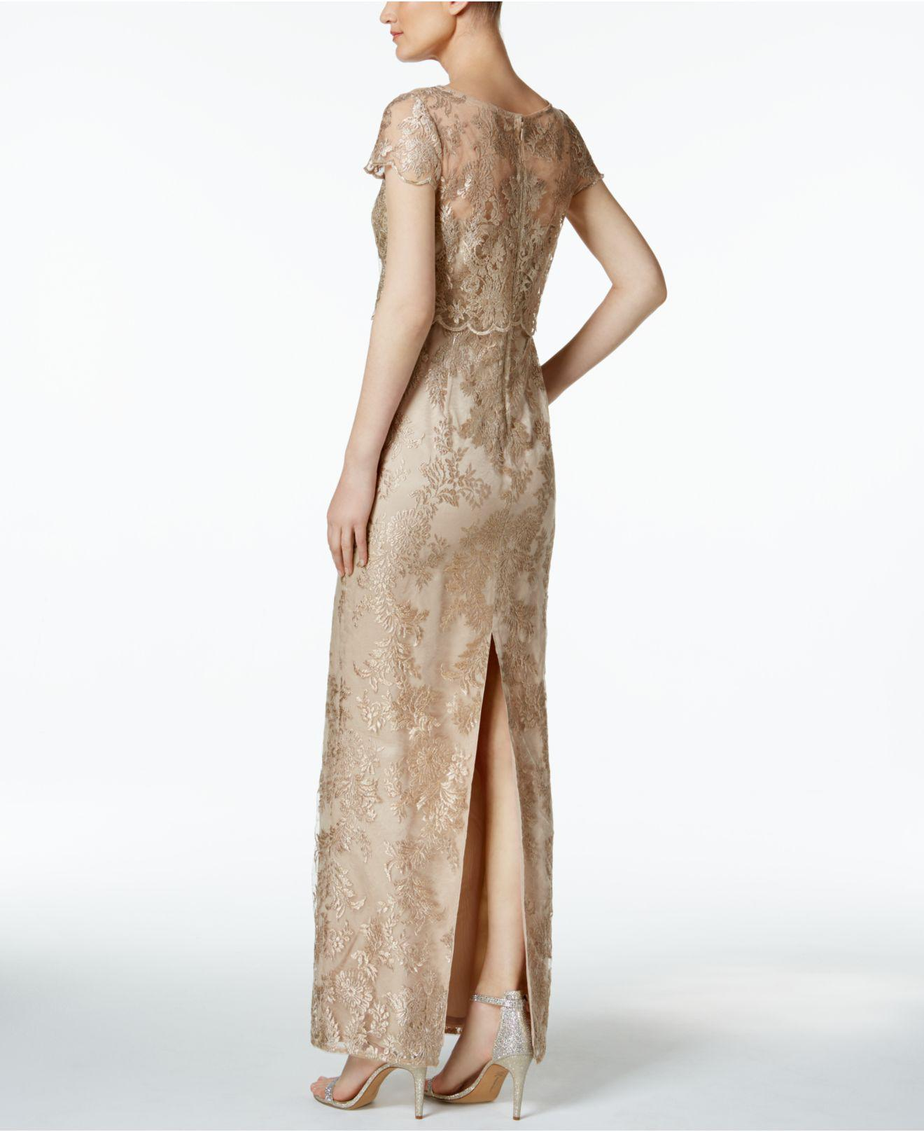 Lyst - Adrianna Papell Petite Embroidered Mesh Popover Gown