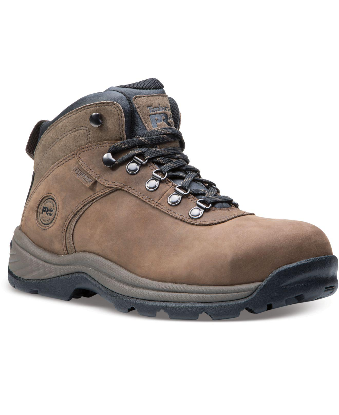 Timberland Leather Pro Flume Mid Waterproof Steel Toe Work Boots In Brown For Men Lyst