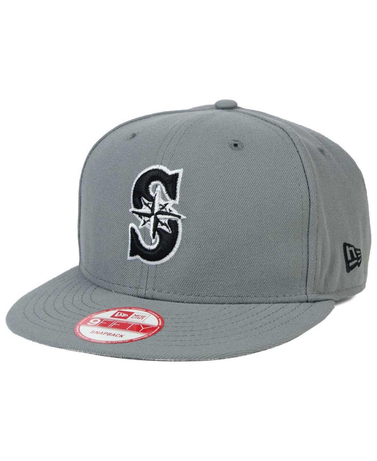new arrival 94f16 68d90 Lyst - KTZ Seattle Mariners Gray Black White 9fifty Snapback Cap in ...