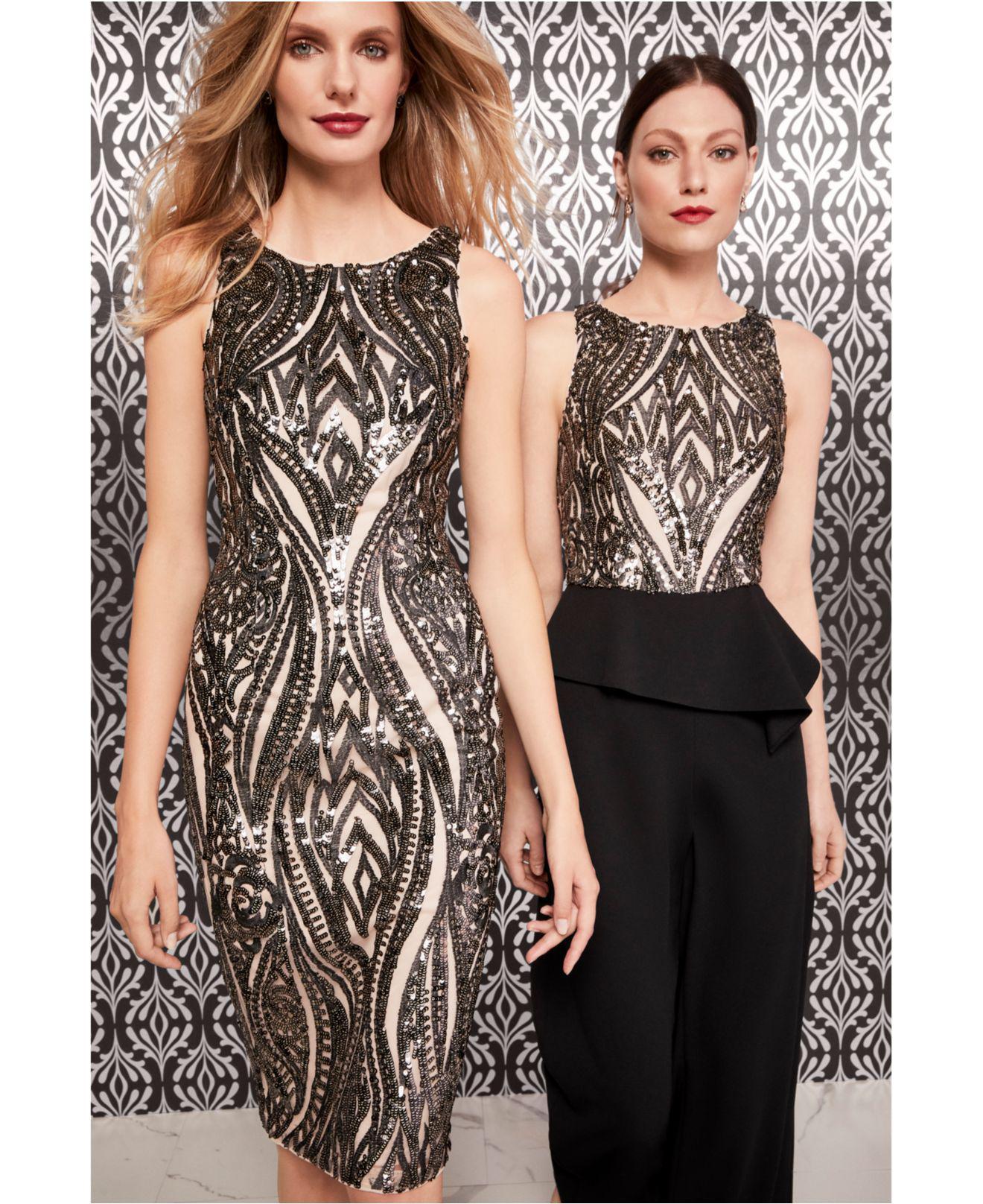 aa87e3c729f6 Adrianna Papell - Black Embellished Peplum Jumpsuit - Lyst. View fullscreen