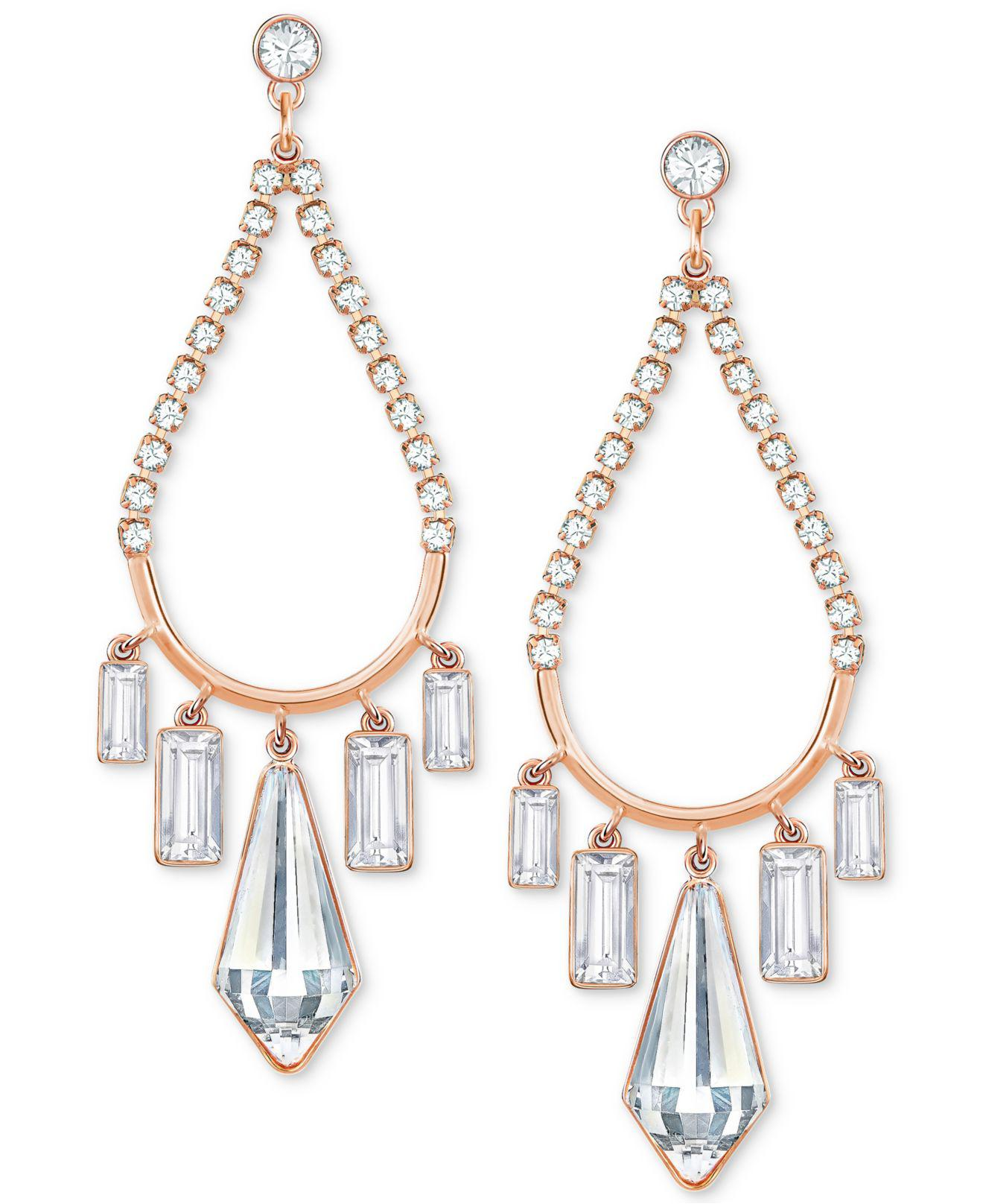Lyst Swarovski Rose Gold tone Crystal Chandelier Earrings in