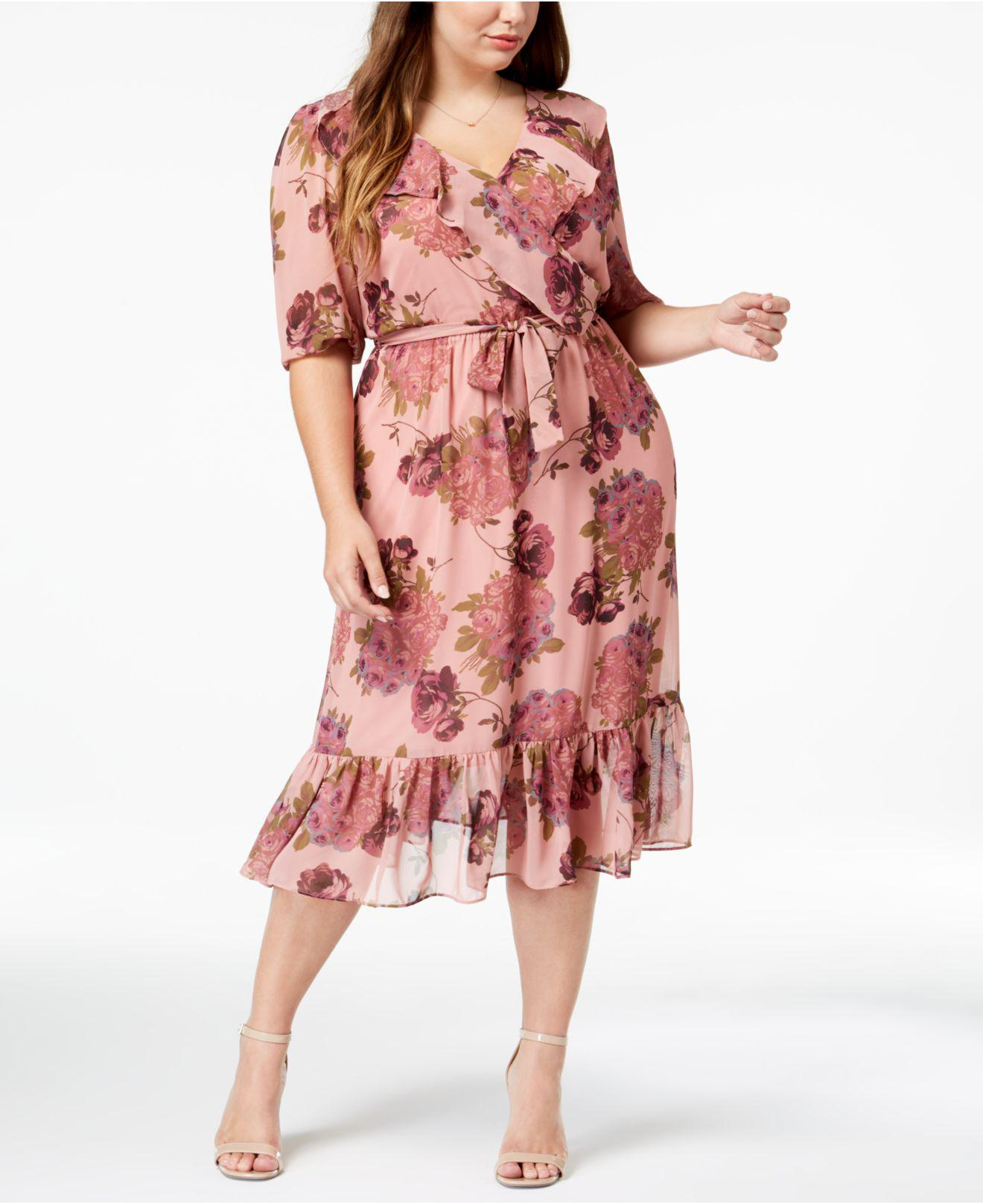 5c0b3d907fad Betsey Johnson Trendy Plus Size Floral Chiffon Wrap Dress in Pink - Lyst