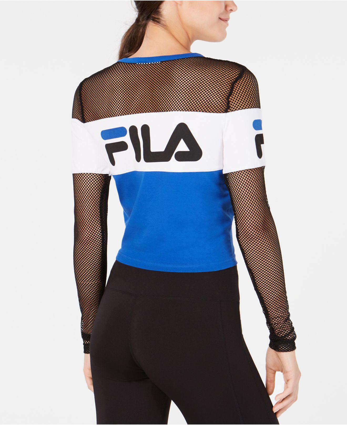 Lyst - Fila Tara Crop Long Sleeve Top in Blue - Save 40.476190476190474% 69507cadd