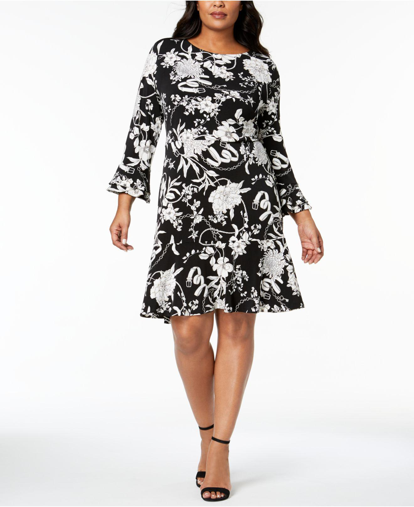 Charter Club Plus Size Flounced Hem A Line Dress In Black Lyst