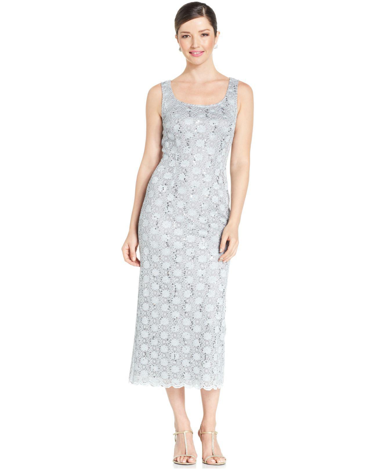 fba4987b638 R   M Richards. Women s Metallic R m Richards Sequined Lace Sheath Dress ...