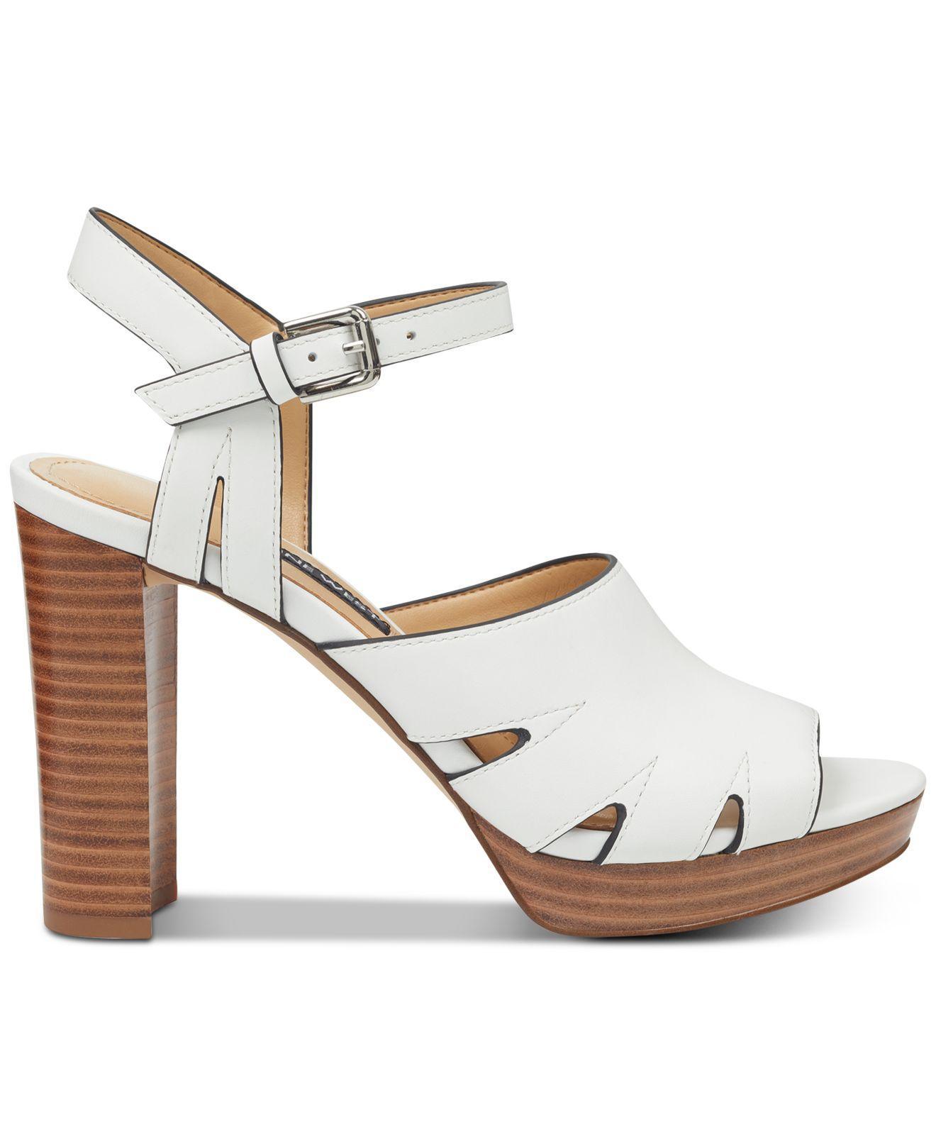 bd794b117886 Lyst - Nine West Delilah Platform Sandals in White