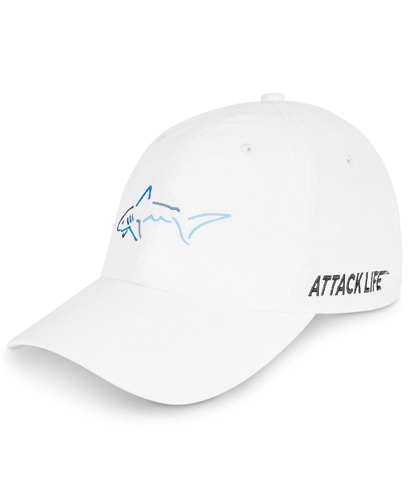 2b38008c4cf Lyst - Greg Norman Shark Embroidered Hat in White for Men