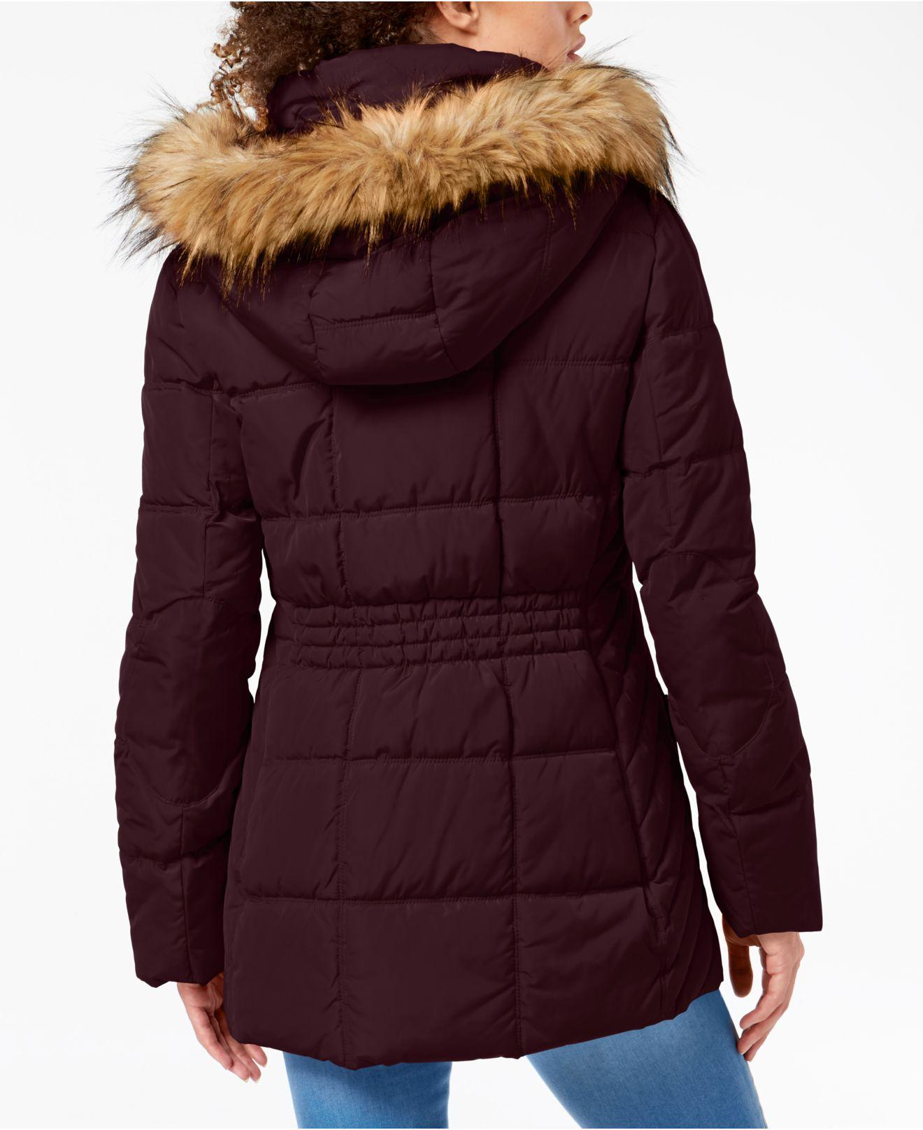 9ed6fc1262cff Lyst - Tommy Hilfiger Faux-fur-trim Hooded Puffer Coat in Purple - Save  10.769230769230774%