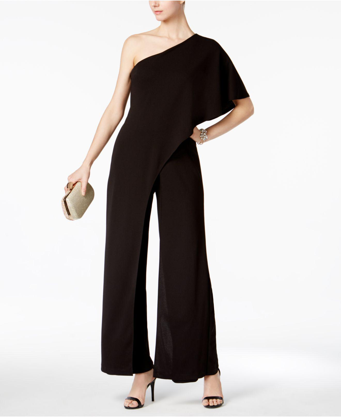 8f5b7020b2a Lyst - Adrianna Papell Petite Draped One-shoulder Jumpsuit in Black