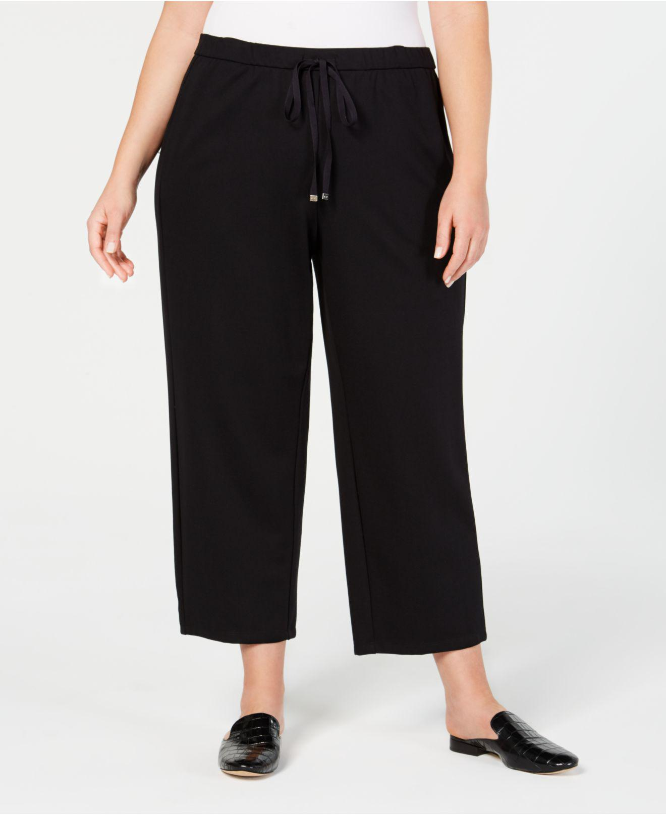915c9951272 Eileen Fisher. Women s Black Plus Size Ponte Drawstring-waist Ankle Pants