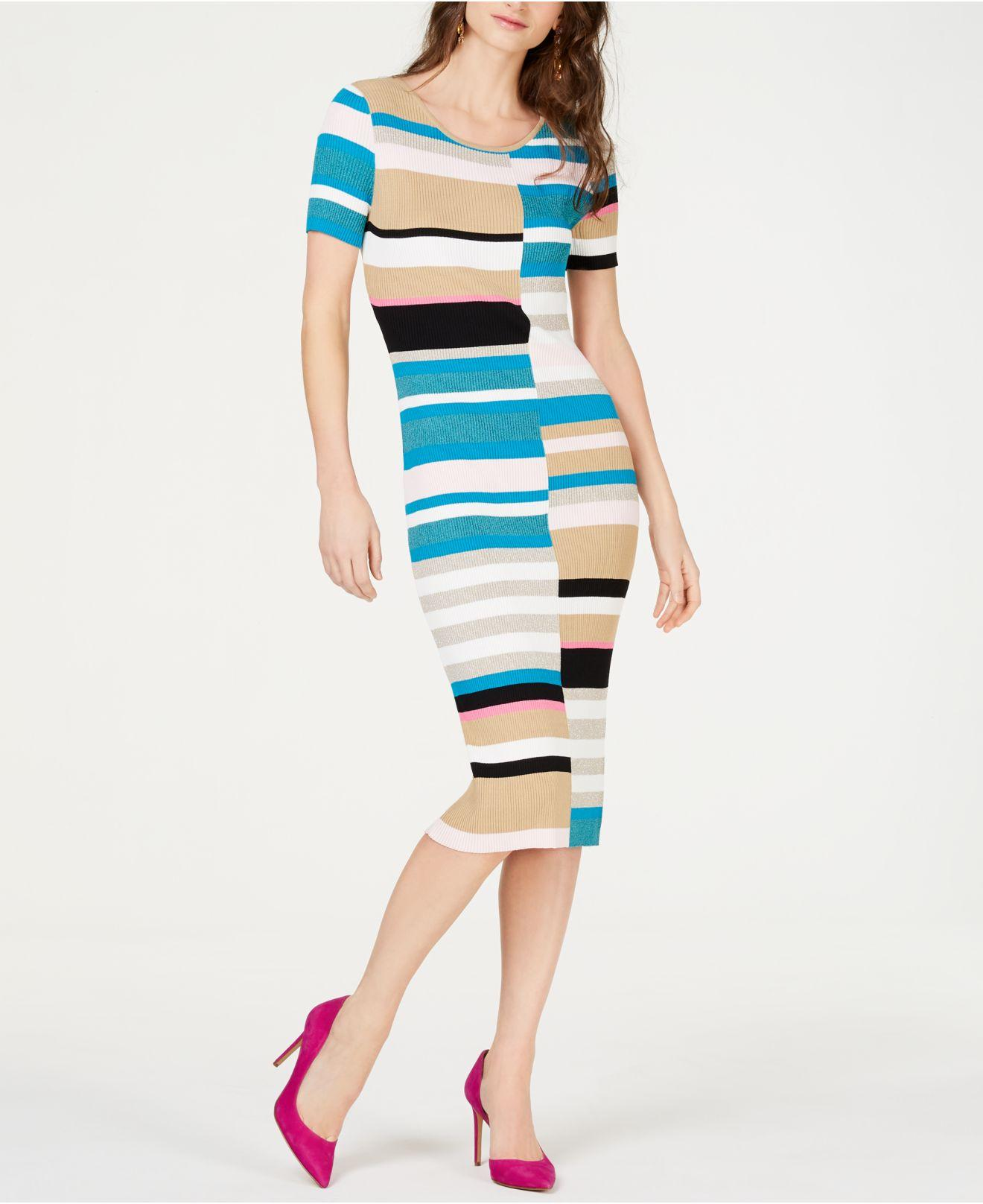c9a4c0d2ce6 INC International Concepts. Women s Blue I.n.c. Petite Colorblocked  Short-sleeve Sweater Dress ...