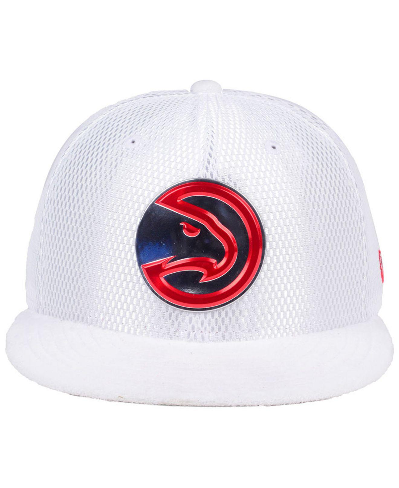 quality design 14c69 1d070 Lyst - KTZ Atlanta Hawks On-court Collection Draft 59fifty Fitted Cap in  White for Men