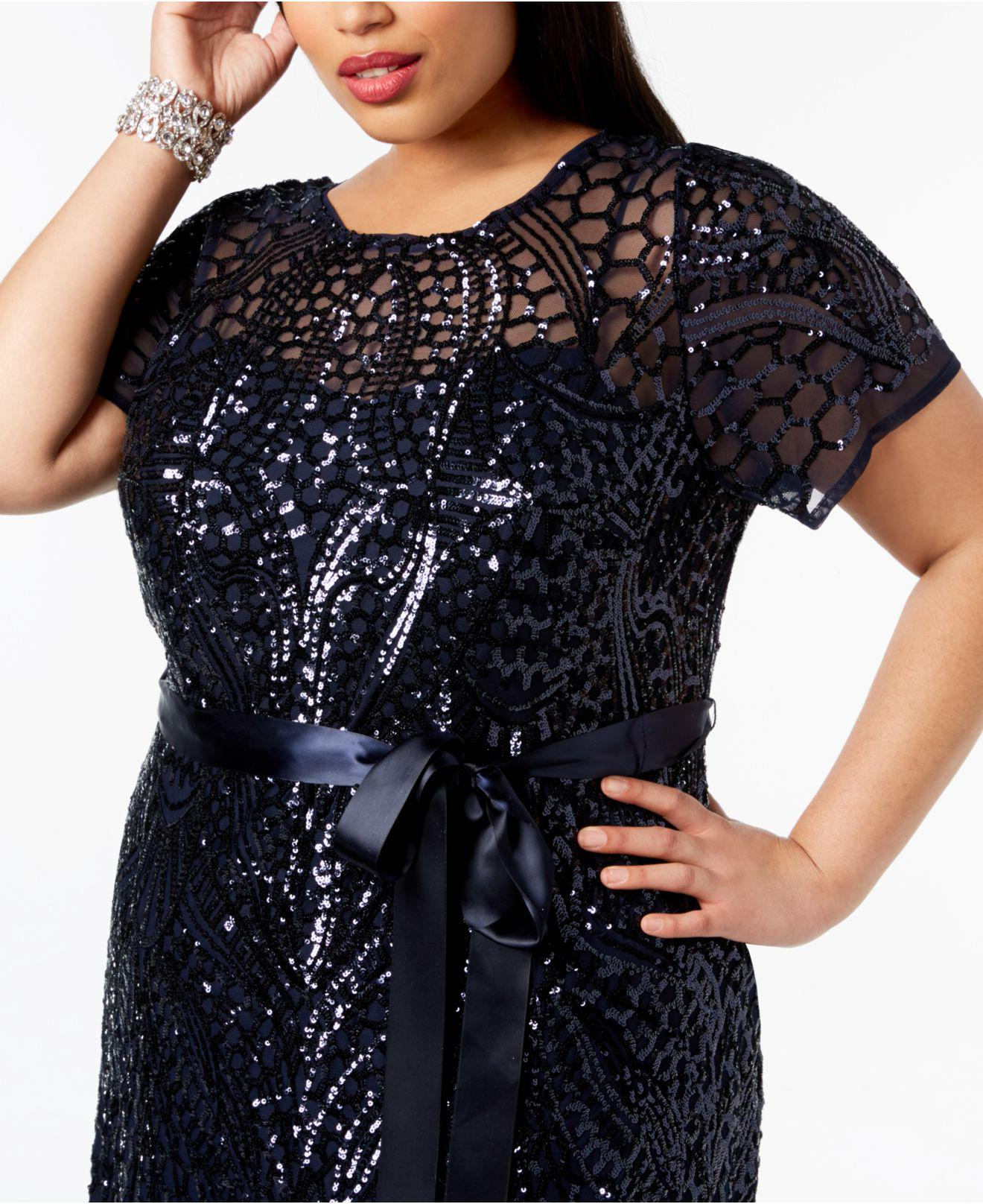 R & M Richards Blue Plus Size Sequined Godet Gown