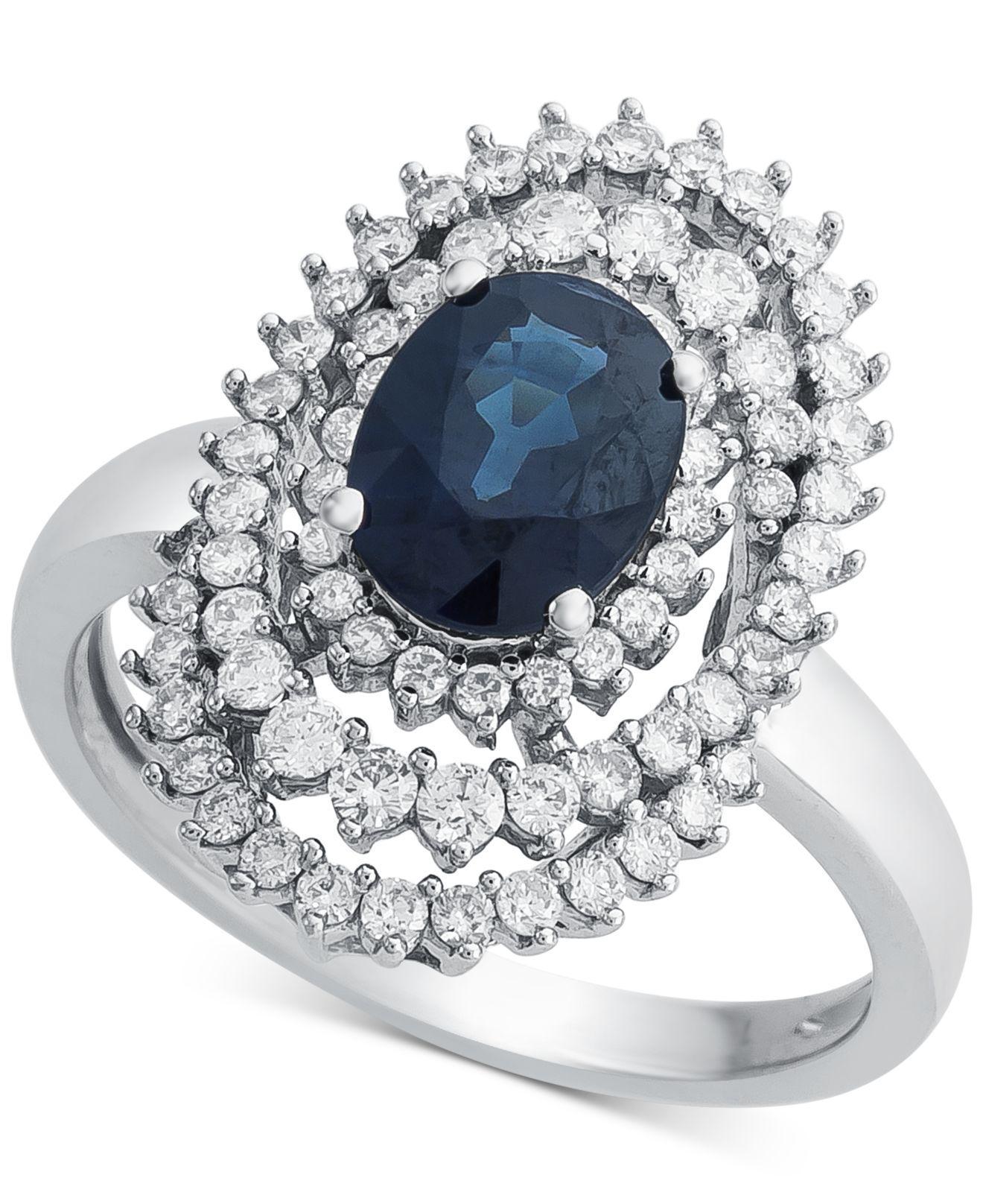 4bbe7dd14 Lyst - Macy's Sapphire (1-1/3 Ct. T.w.) & Diamond (3/4 Ct. T.w. ...