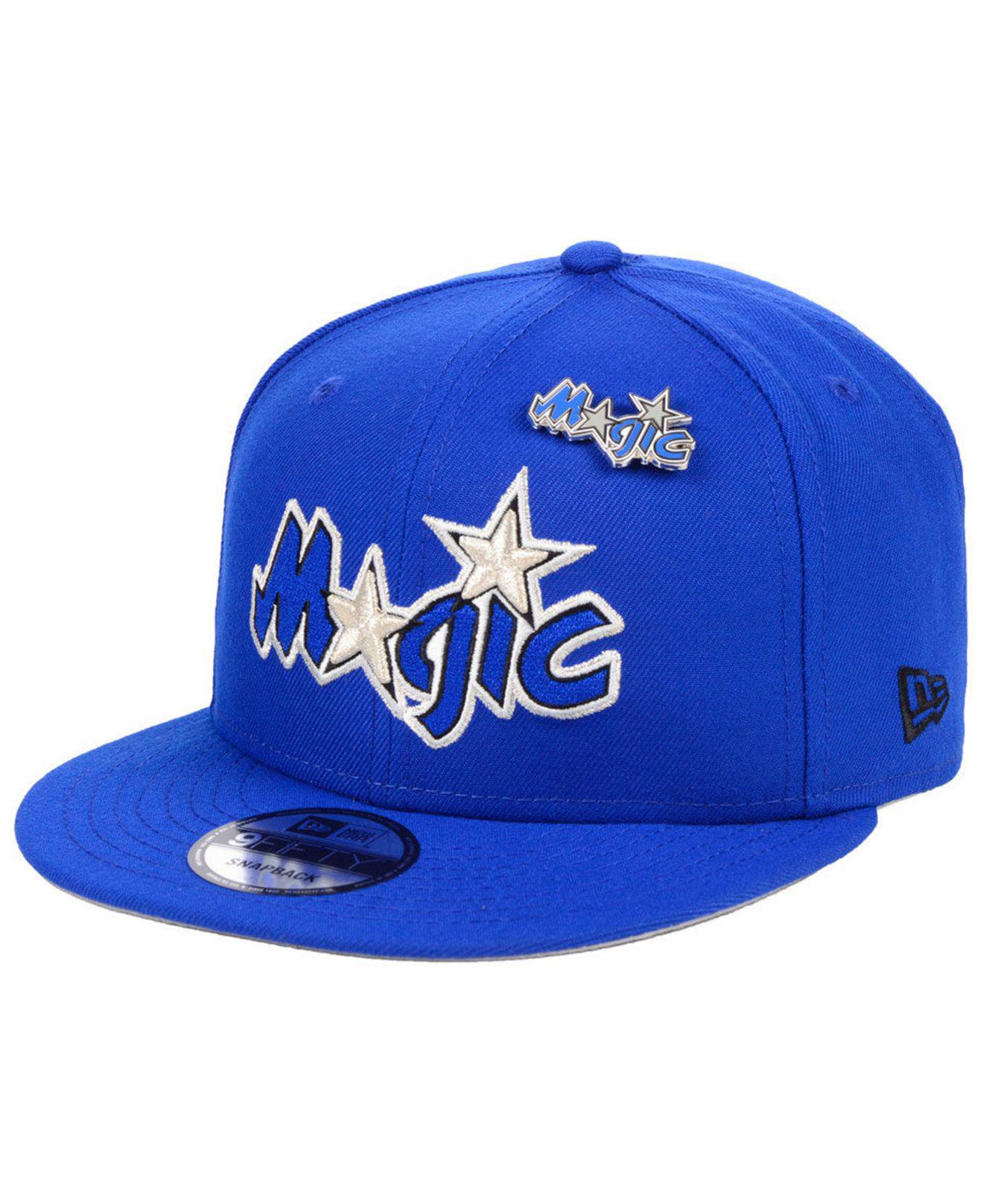 pretty nice 0a036 cf494 KTZ. Men s Blue Orlando Magic Hardwood Classic Nights Pin 9fifty Snapback  Cap