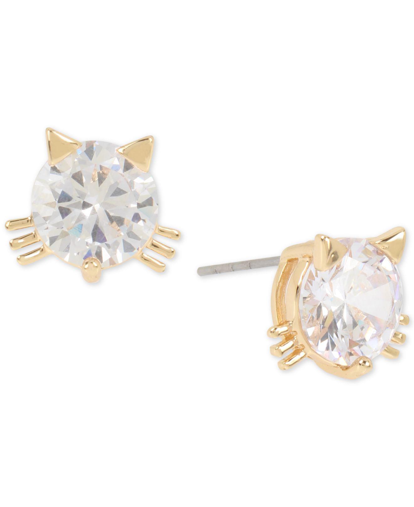 fc1f55248 Lyst - Betsey Johnson Gold-tone Crystal Cat Stud Earrings in Metallic