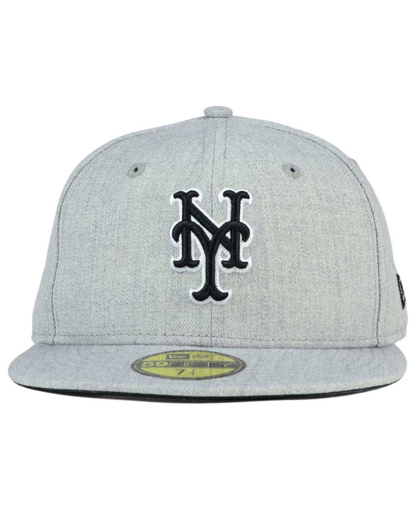 brand new 5e98a 8f28f ... lyst ktz new york mets heather black white 59fifty cap in gray for men