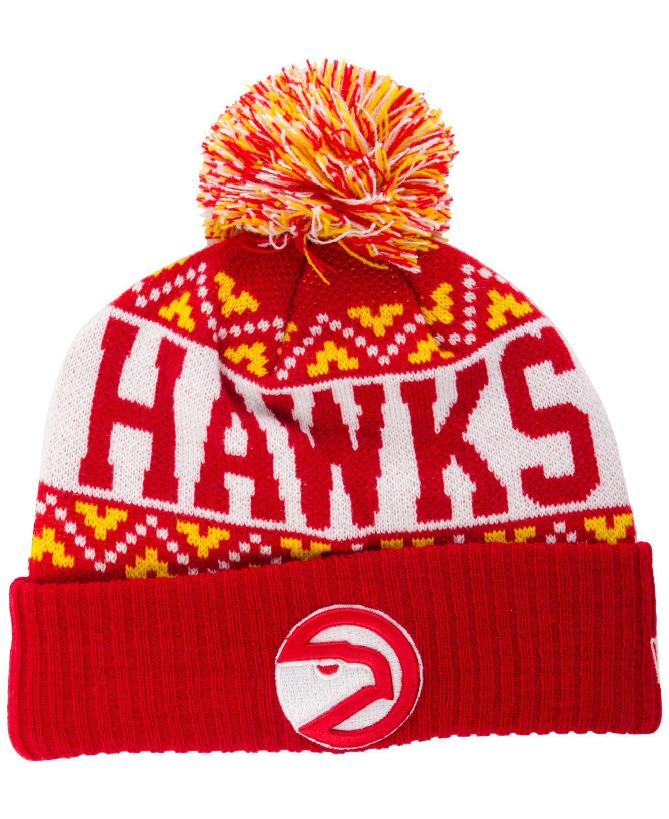 cc64e3abd4a99 ... reduced ktz. mens red atlanta hawks biggest christmas knit hat 6abf2  aeb94