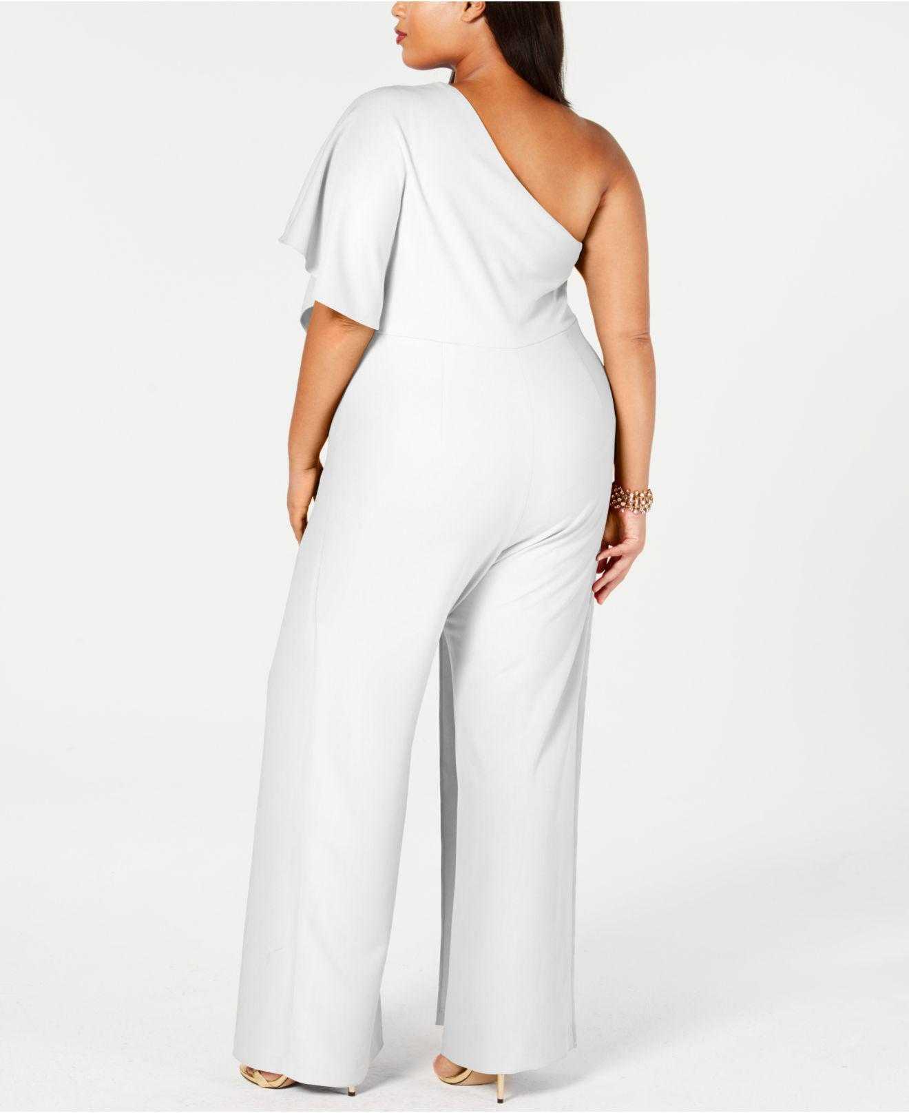 af0d04a5b41a Adrianna Papell - White Plus Size Draped One-shoulder Jumpsuit - Lyst. View  fullscreen