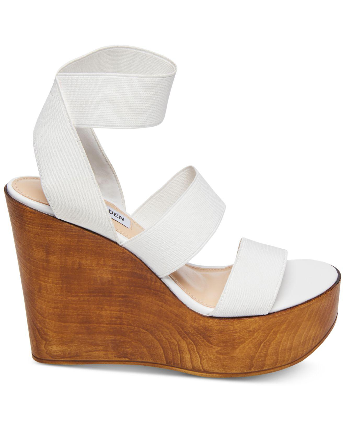 99629a209fde Steve Madden Blondy Wedge Heel Sandals in White - Lyst