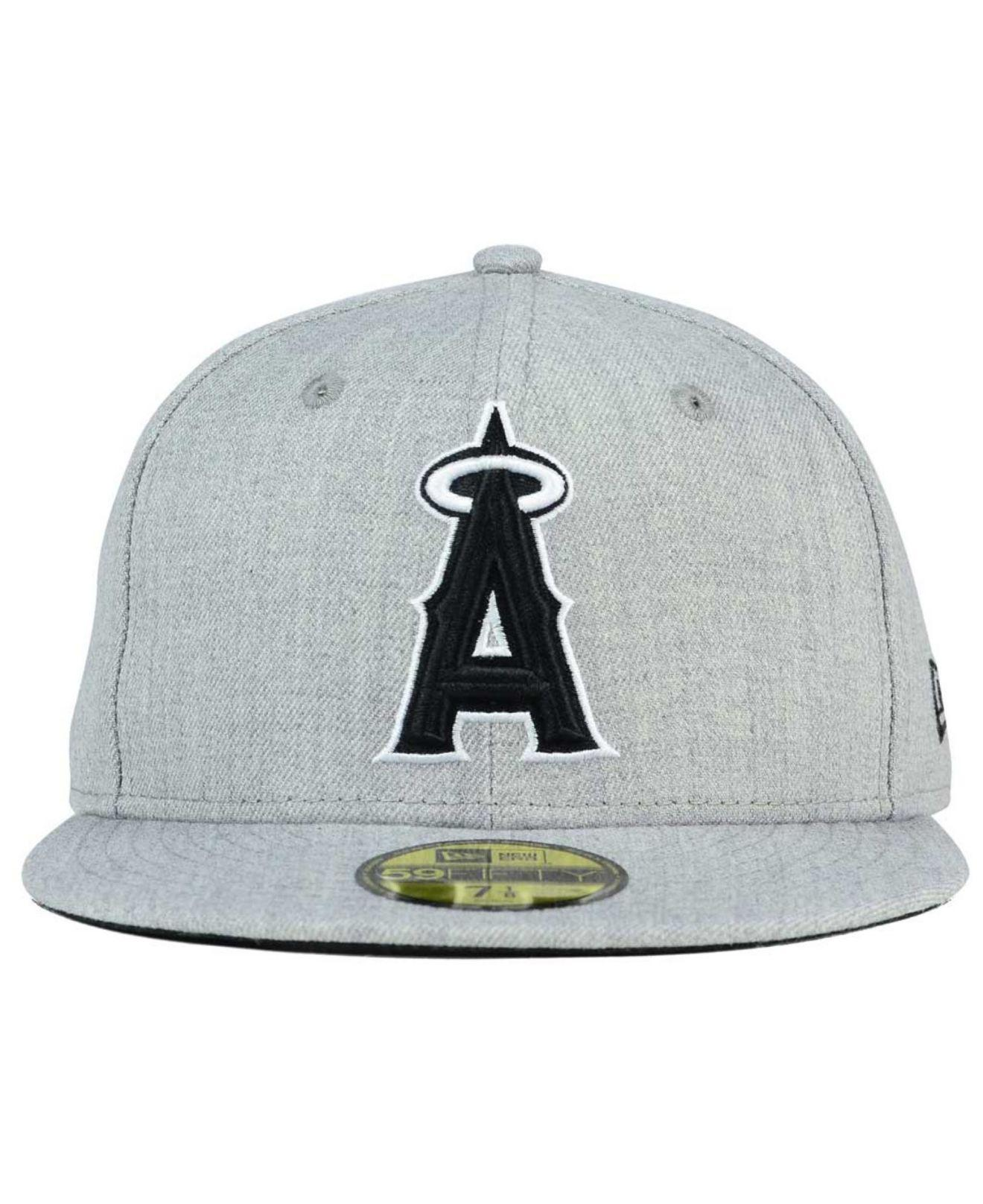 4a35f601a7e Lyst - KTZ Los Angeles Angels Of Anaheim Heather Black White 59fifty Cap in  Gray for Men