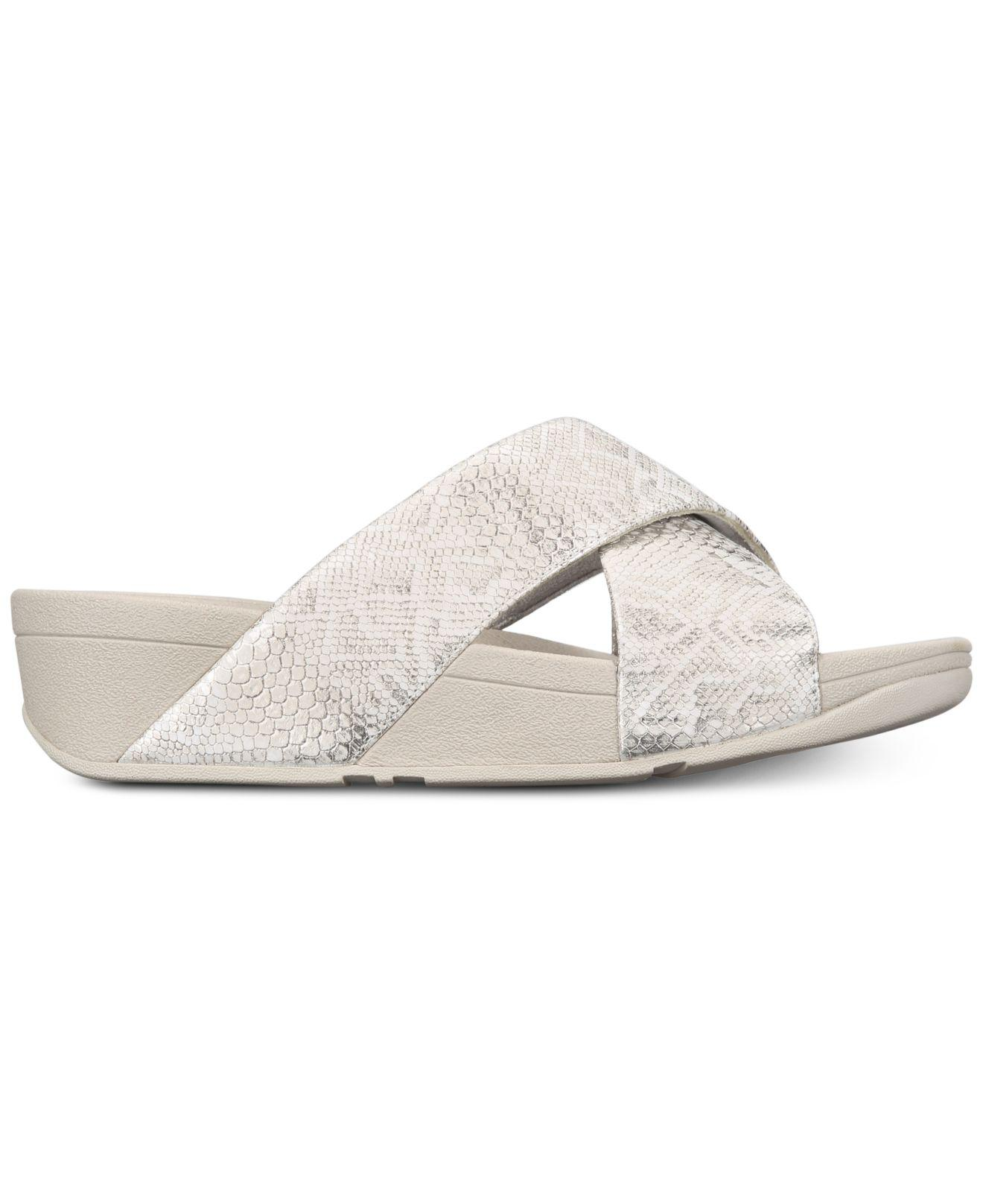 49ea559bc Lyst - Fitflop Lulu Slide Sandals in White