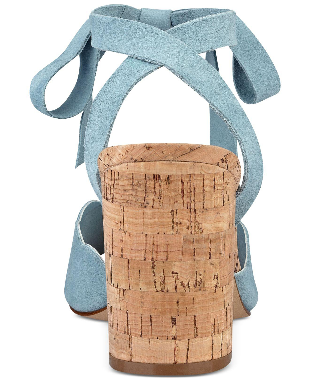 abdc947372d Lyst - Marc Fisher Piya Lace-up Cork Block-heel Sandals in Blue