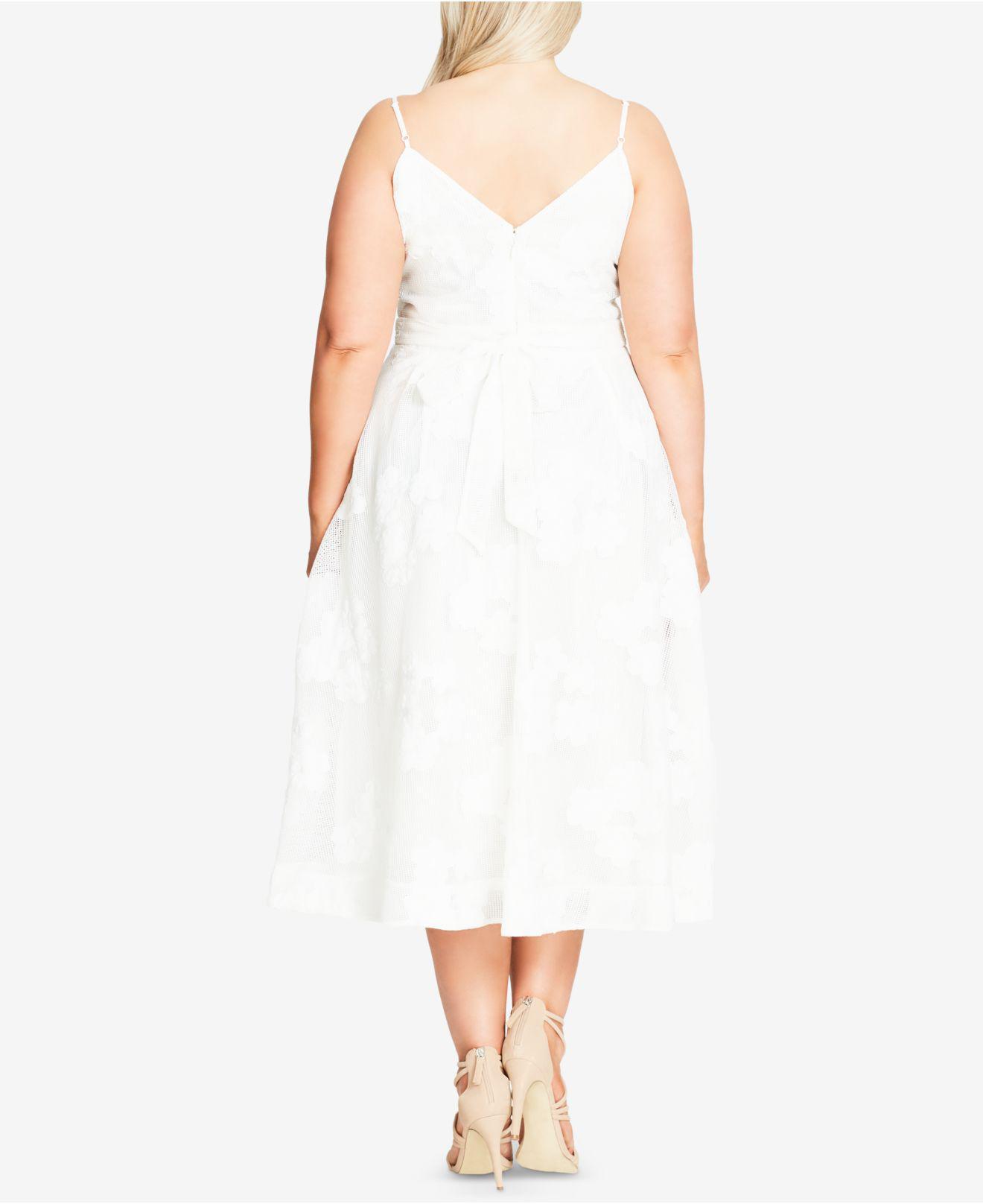 City Chic White Trendy Plus Size Floral-appliqué Fit & Flare Dress