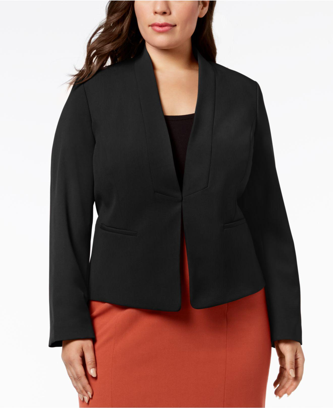 23b5b8a7139 Lyst - Nine West Plus Size Stand-collar Jacket in Black