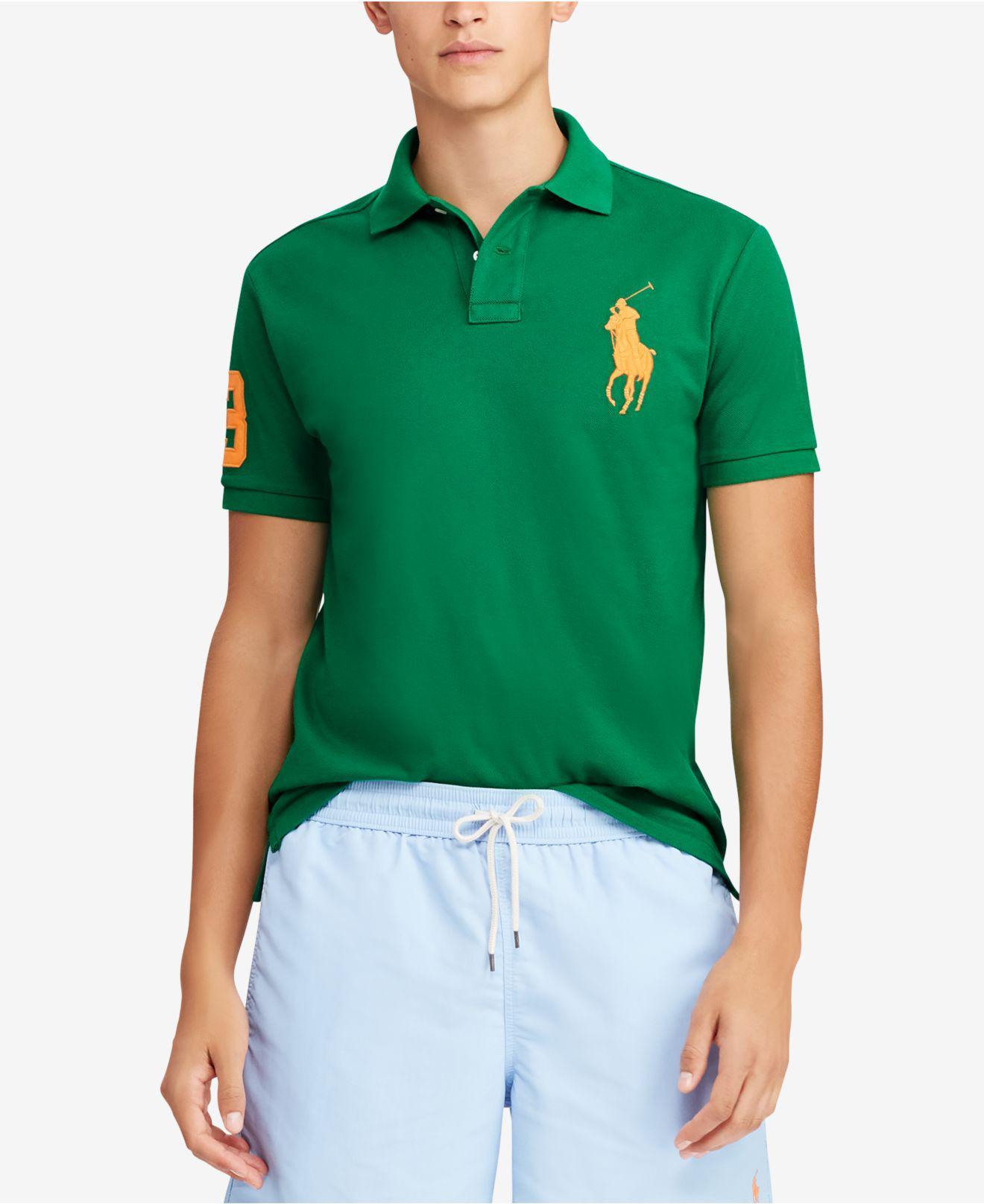 f32d930d Polo Ralph Lauren Mesh Custom Slim Fit Polo Shirt in Green for Men ...